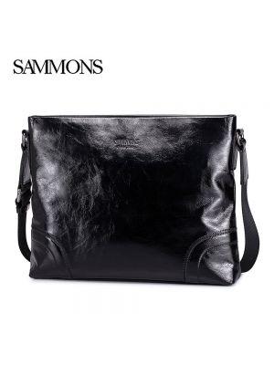 Black Luxury Messenger Bag - Sammons Bags - Front