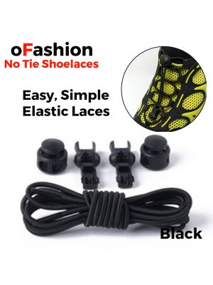 Smart Lock Elastic Shoelaces Black - Button and End Caps - Main Page